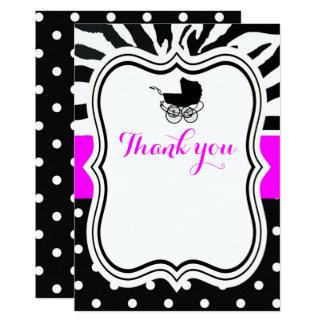 Zebra-Tupfen-Modemädchen danken Ihnen 12,7 X 17,8 Cm Einladungskarte