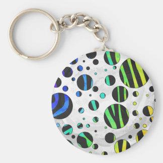 Zebra-Tupfen-Schwarzes und Regenbogen-Druck Schlüsselanhänger