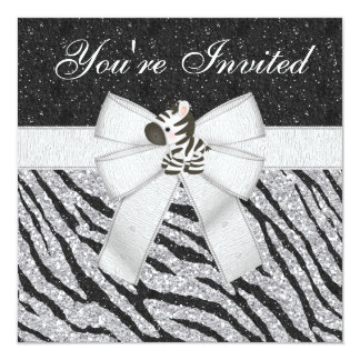 Zebra-u. Tier-Druck-schwarzes u. silbernes Quadratische 13,3 Cm Einladungskarte