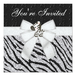 Zebra-u. Tier-DruckSequins u. Glitter-Party Quadratische 13,3 Cm Einladungskarte