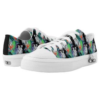 Zebra und exotisches Blumen-Muster Niedrig-geschnittene Sneaker