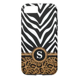Zebra-und Leopard-Monogramm iPhone 8/7 Hülle