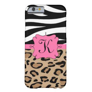 Zebra-und Leopard-personalisiertes Monogramm Barely There iPhone 6 Hülle