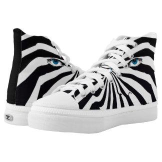 Zebragesichtsspitze-Tennisschuhe Hoch-geschnittene Sneaker