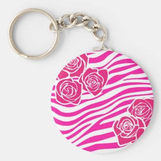 Zebramuster mit rosa Rosen Keychain Schlüsselanhänger
