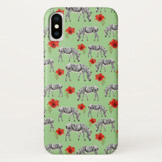 Zebras unter Hibiskus-Blumen iPhone X Hülle
