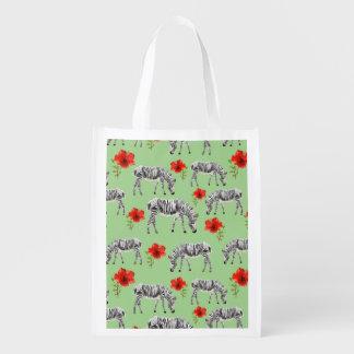 Zebras unter Hibiskus-Blumen Wiederverwendbare Einkaufstasche