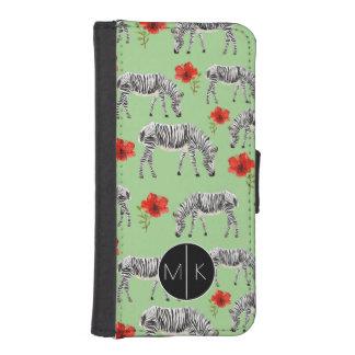 Zebras unter Monogramm der Hibiskus-Blumen-| iPhone SE/5/5s Geldbeutel