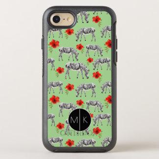 Zebras unter Monogramm der Hibiskus-Blumen-| OtterBox Symmetry iPhone 8/7 Hülle