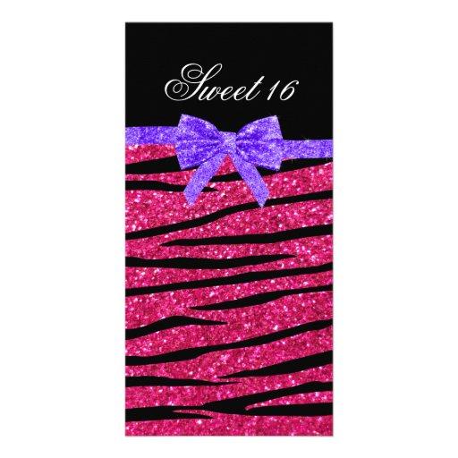 Zebrastreifen Glitter des Bonbons 16 rosa Bilderkarten