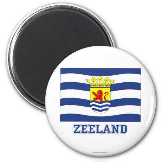 Zeeland-Flagge mit Namen Runder Magnet 5,1 Cm