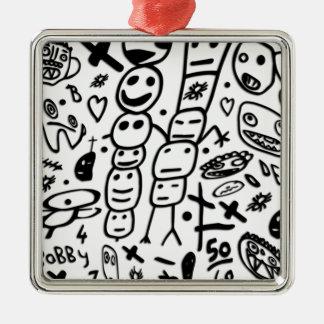 Zef Garnele Quadratisches Silberfarbenes Ornament