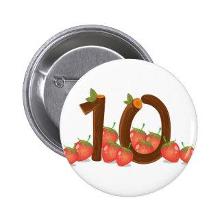 Zehn Erdbeeren Runder Button 5,7 Cm