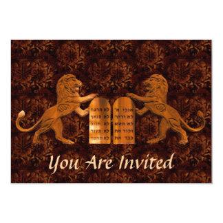 Zehn Gebot-und Löwe-Bar/Schläger Mitzvah 12,7 X 17,8 Cm Einladungskarte