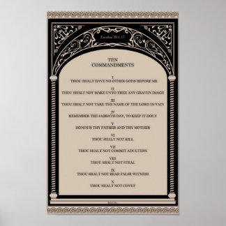 Zehn Gebote auf Pergament-Kunst-Deko-Bogen-Rolle Poster
