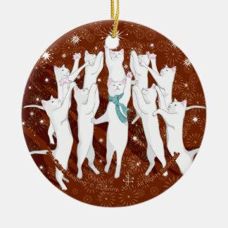 Zehn Katzen ein-Springen… Weihnachtsbaum Keramik Ornament
