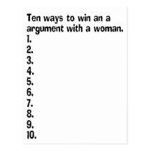 Zehn Möglichkeiten, ein Argument mit einer Frau zu Postkarten