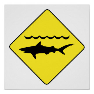 """Zeichen """"der warnenden Haifische"""" des Gelbs Poster"""