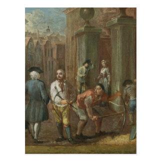 Zeichen für einen Pflasterer c 1725 Öl auf Platt Postkarten