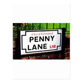 Zeichen Pennyweg Liverpools England Postkarten