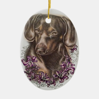 Zeichnen der Brown-Dackel-Hunde-und Lilien-Kunst Keramik Ornament