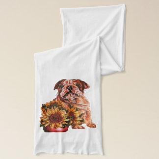 Zeichnen der Bulldogge mit Sonnenblumen auf Schal