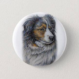 Zeichnen der Collie-Hundetier-Kunst Runder Button 5,7 Cm