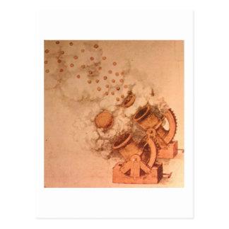Zeichnen der Kanonen durch Leonardo da Vinci Postkarte