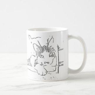 Zeichnen der Katze Kaffeetasse