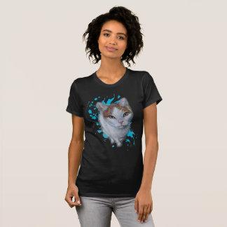 Zeichnen der Katzen-Kunst mit blauem Farben-Shirt T-Shirt