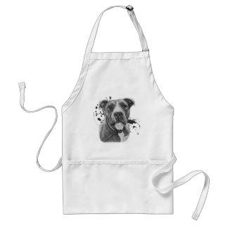 Zeichnen der Pitbull Hundetierkunst auf Farbe Schürze