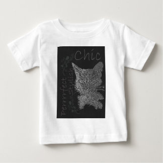 Zeichnen der schläfrigen Katze in der Kreide Baby T-shirt