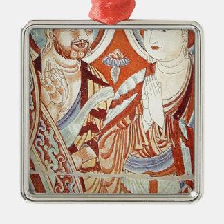 Zeichnen der zentralen asiatischen buddhistischen quadratisches silberfarbenes ornament
