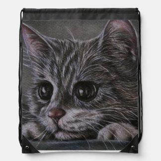 Zeichnen des Kätzchens auf Drawstring-Rucksack Turnbeutel