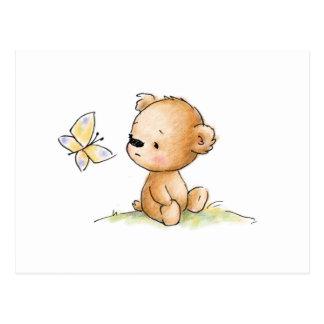 Zeichnen des niedlichen Teddybären mit Postkarten