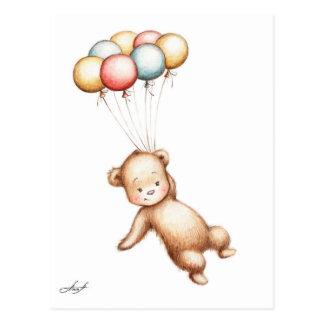 Zeichnen des Teddy-Bärnfliegens mit Ballonen Postkarten