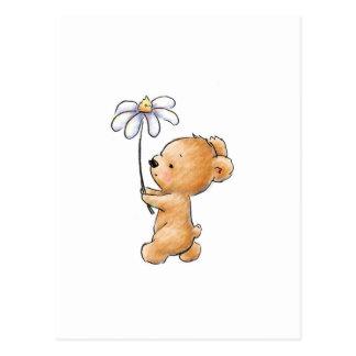 Zeichnen des Teddybären gehend mit Blume Postkarten