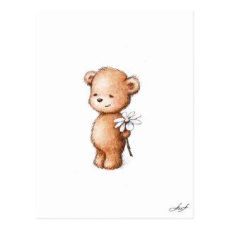 Zeichnen des Teddybären mit Gänseblümchen Postkarten