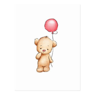 Zeichnen des Teddybären mit rotem Ballon Postkarte