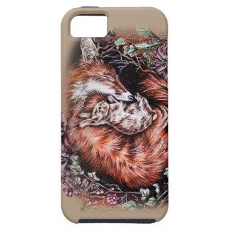Zeichnen roten Fox und der Häschen-Tierkunst und iPhone 5 Hülle