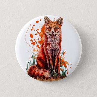 Zeichnen roter Fox-Tierkunst und der orange Farbe Runder Button 5,7 Cm