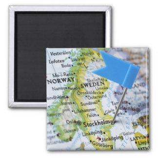 Zeichnen Sie das Button auf, das auf Stockholm, Quadratischer Magnet