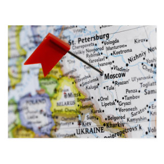 Zeichnen Sie das Button auf, das in Moskau, Postkarte