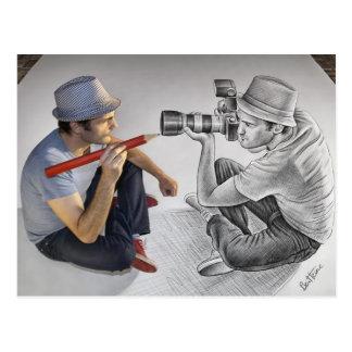 Zeichnen Sie gegen Kamera - Kunst 3D - Fotograf an Postkarte