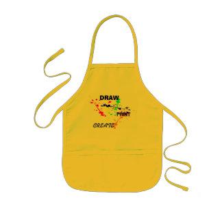 Zeichnen Sie, malen Sie, stellen Sie gelbes Kinderschürze