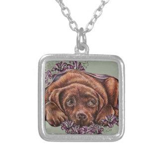 Zeichnen von Hund und von Lilien Browns Labrador Versilberte Kette