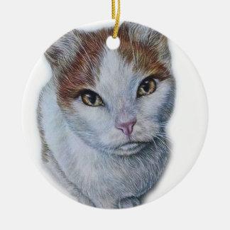 Zeichnen von Katzen-Weiß und Orange Keramik Ornament