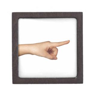 Zeigen eines Fingers Schachtel