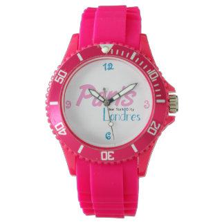 Zeigen Sie sportliches rosa silicon Uhr