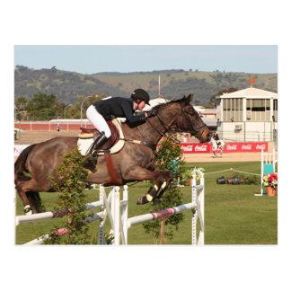 Zeigen Sie springendes Pferd und Reiter Postkarte